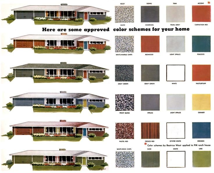 House color combos for Mid Century ranch homes. -- The one on top is what we wanna do!! We're so authentic. XD -EADF
