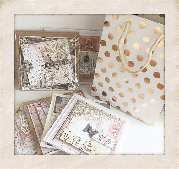 A beautiful collection of 6 greetings cards each measuring approximately 145mm square that come with a gift bag and the option of a personalised gift tag for the bag. Every card is unique, has been created in the popular Shabby style, has a blank quality insert, comes with an