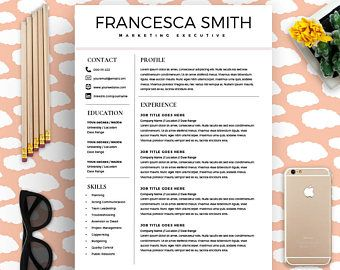 Feminine Resume - CV design - Resume Download - MS Word Resume for Word - Professional Resume Template Mac - Instant Download Fashion Resume