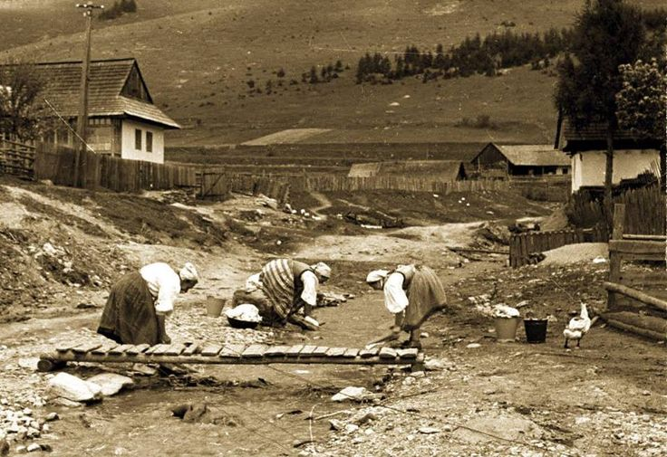 Doing laundry. Central Slovakia 1956