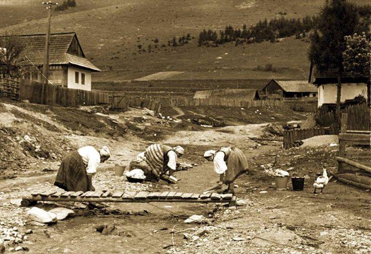 Doing laundry. Central Slovakia 1956