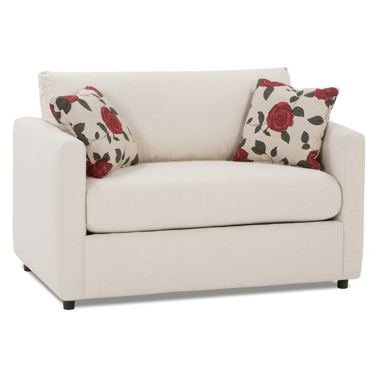 Appealing White Fabric Convertible Single Midcentury Chair Bed With Floral Cushion As Decorate Womens Living Room Furniture Ideas