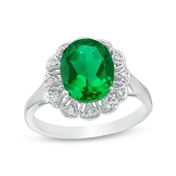 Zales Oval Lab-Created Emerald and White Topaz Ring in 10K Gold UiN746