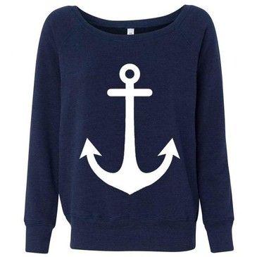 : Anchors Sweatshirts, Dreams Closet, Style, Anchors Sweaters, Sweat Shirts, Nautical Looks, Cute Anchors, Summer Night, Anchors Shirts
