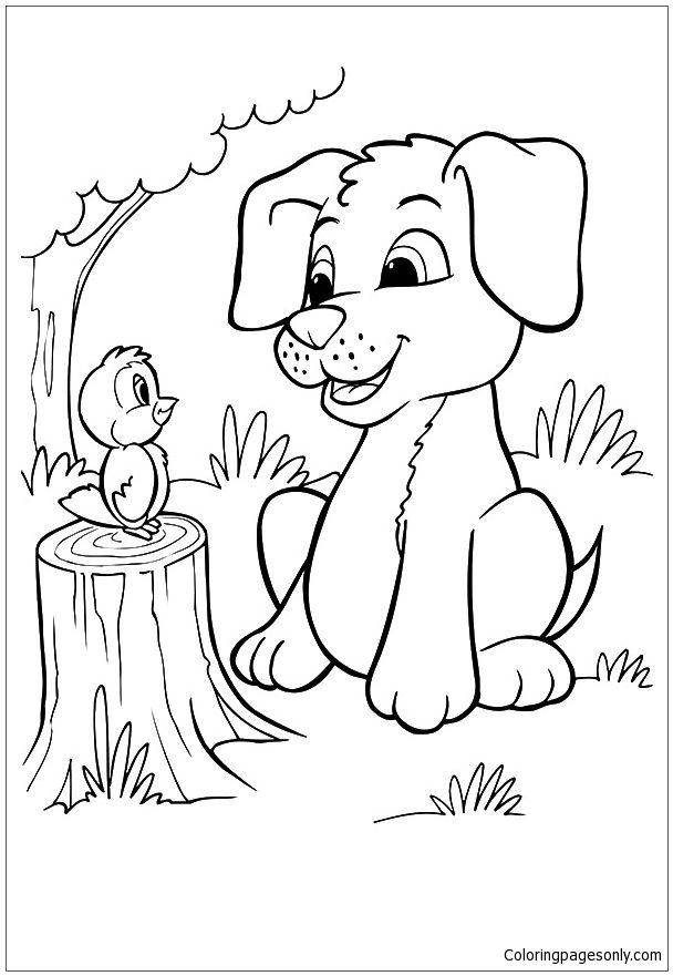 The Pup And Bird Coloring Page Puppy Coloring Pages Bird