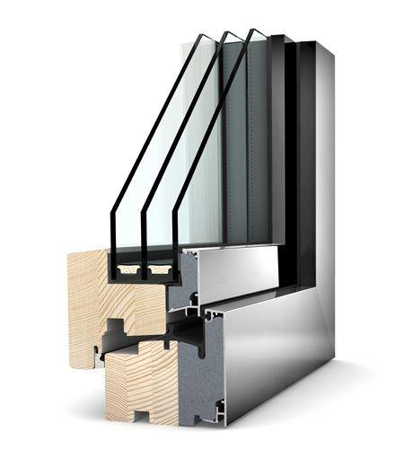 Okno drewniano - aluminiowe Internorm Home Pure HF 310. Izolacyjność cieplna okna do 0,62 W/m²K.