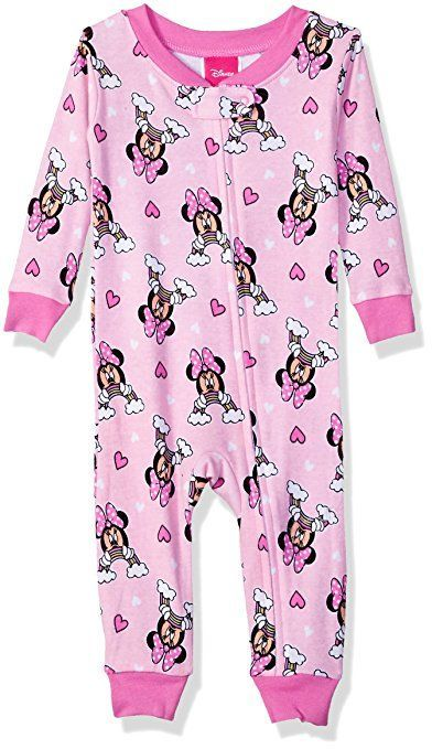 b29116dc1 Disney Baby Toddler Girls  Minnie Mouse Cotton Non-Footed Pajama ...