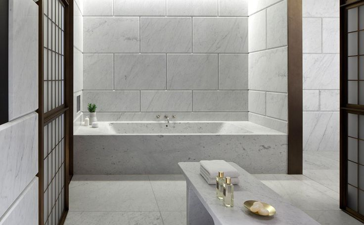 Carrara marble bathroom by nuestra at the hotel cafe royal for Empire bathrooms