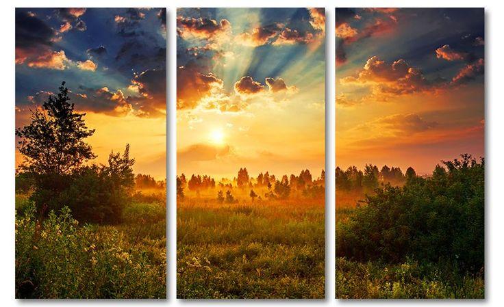 Landschap foto schilderij weide op canvas