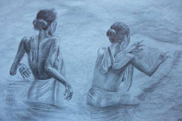 """Saatchi Art Artist Giulia Lauren De Cesaris; Drawing, """"Indian women"""" #art #drawing #indian #women #charcoal #graphite #saatchiart @saatch"""