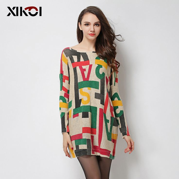 High Quality Women's Sweaters Fashion Batwing Sleeve Print