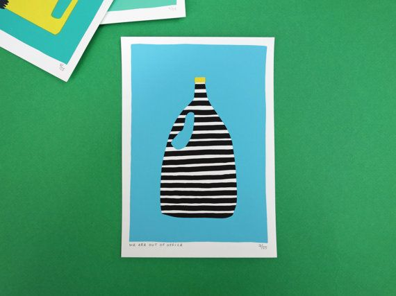 A zebra bottle screen print