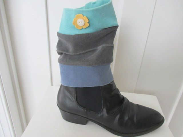 Boot Cuff, Upcycled Boot Cuff, Boot Topper, Stripe Boot Cuff, Stripe Legwarmer, Stripe Boot Topper, Knit Boot Sock, Blue Navy Boot Cuff by StitchesbyJulia on Etsy