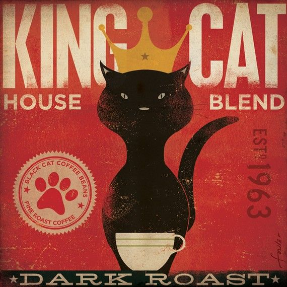 King Cat Coffee Company original illustration graphic artwork on gallery wrapped…