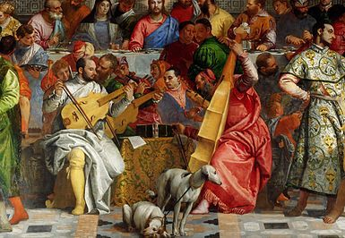 Paolo Veronese, The Wedding at Cana, detail, orchestra of Venitian painters, 1562-1563, oil on wood, right to left : Tiziano (bass viola), Tintoretto (lira da braccio), Jacopo Bassano (horn) & Paolo Veronese (viola), Paris Louvres Museum.