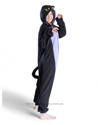 Adult Onesie - Midnight Cat - Kigurumi Costume - Free Delivery