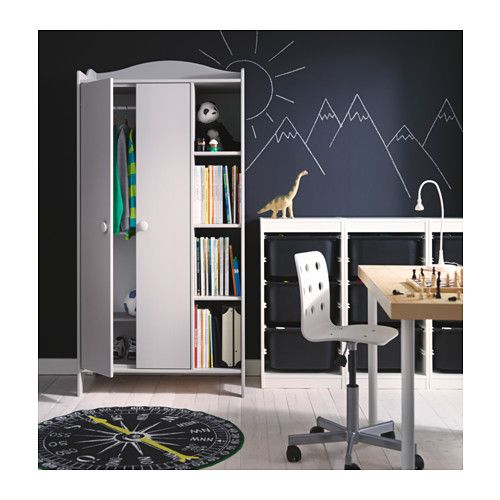 """TROGEN Wardrobe  - IKEA. Side-by-side wardrobes for storage in the back living room wall. This one has four cubbies in each for open storage like plants and stuff. Also narrow at 19 5/8"""" deep, and has space underneath to stash shoes, etc."""