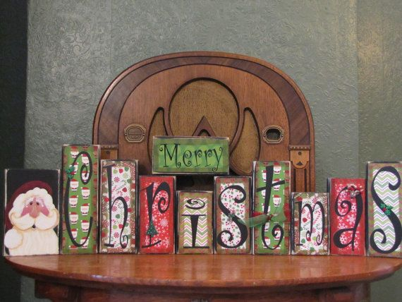 Christmas Sign Word Blocks Merry by PunkinSeedProduction on Etsy
