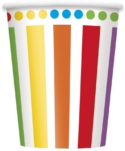 Rainbow Birthday Paper Cups x 8 by Koi, http://www.amazon.co.uk/dp/B00IS44H86/ref=cm_sw_r_pi_dp_z.CJtb0QM4VKD