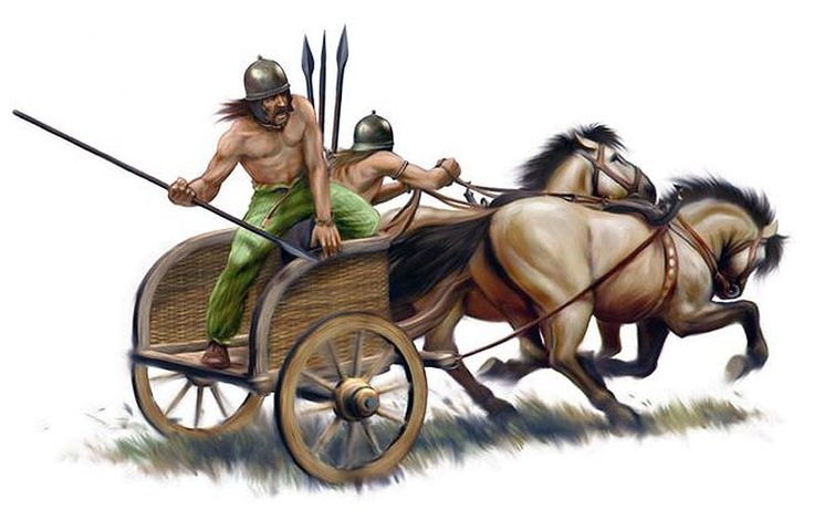 When using the chariot the Gauls would drive about in all directions and throw their javelins at their opponents and generally break the ranks of the enemy. The Gauls would then work themselves in between the troops of the cavalry, they would then leap from their chariots and engage on foot.