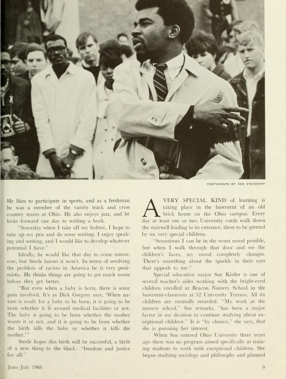 """The Ohio Alumnus, June-July 1968. """"""""Society seems to strike down everyone who articulates justice and tolerance and truth."""" Jim Steele uttered those words three days before the death of Dr. Martin Luther King. Now Steele is even more convinced of their truth."""" Jim Steele was a member of the Black Student Action Coordinating Coommittee and an advocate for the Black Power movement. :: Ohio University Archives"""