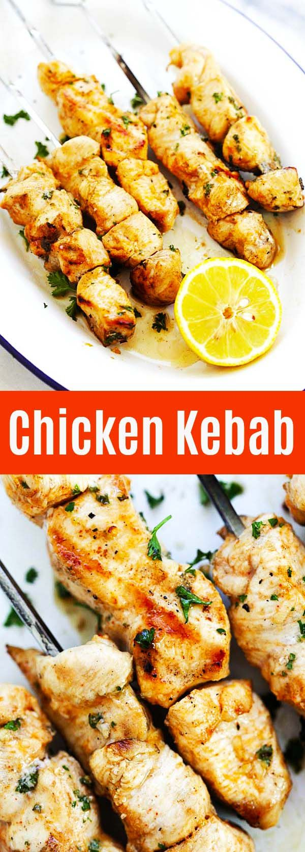 The best and juiciest chicken kebab recipe ever. Threaded on skewers and marinated with olive oil, lemon juice, paprika, garlic and cumin. So good | rasamalaysia.com