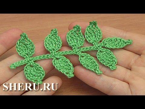 Как связать веточку крючком Урок 46 Irish Lace Crochet Branch