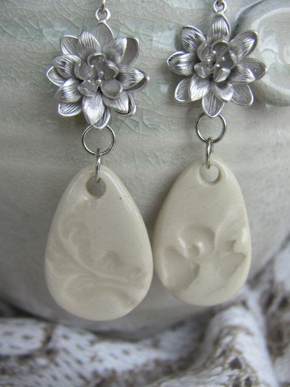 Ceramic flower dangle earrings by Potteryforpeace on Etsy, $24.00