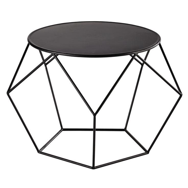 Ronde salontafel, zwart metaal, priem - 49,99€ - H 44 x B 64 x DI 64 - maisondumonde