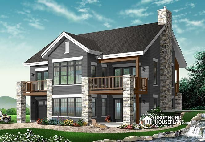 2 storey, 4 bedroom chalet with covered porch on 2 levels and garage (# 3947)  http://www.drummondhouseplans.com/house-plan-detail/info/gordon-cottages-chalets-1002390.html