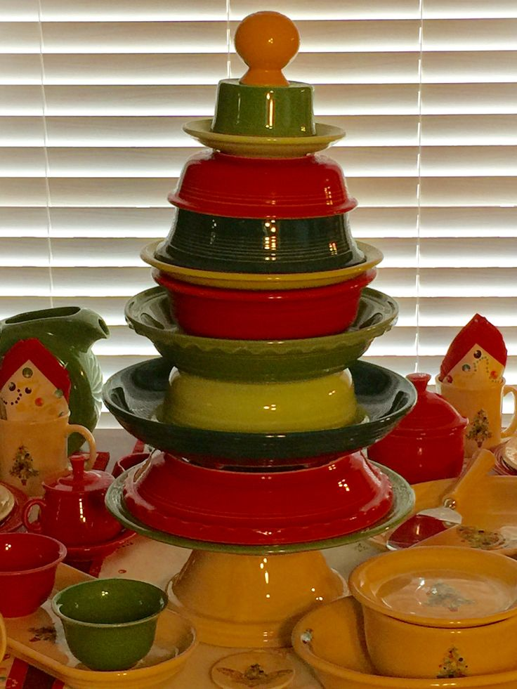 You can do anything with Fiestaware!  Here's a Fiesta® Dinnerware Christmas Tree Sculpture. #RealtorSandy