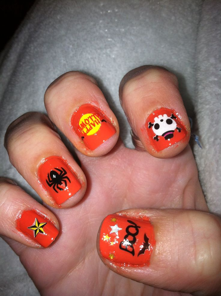 Halloween nails done with stickers