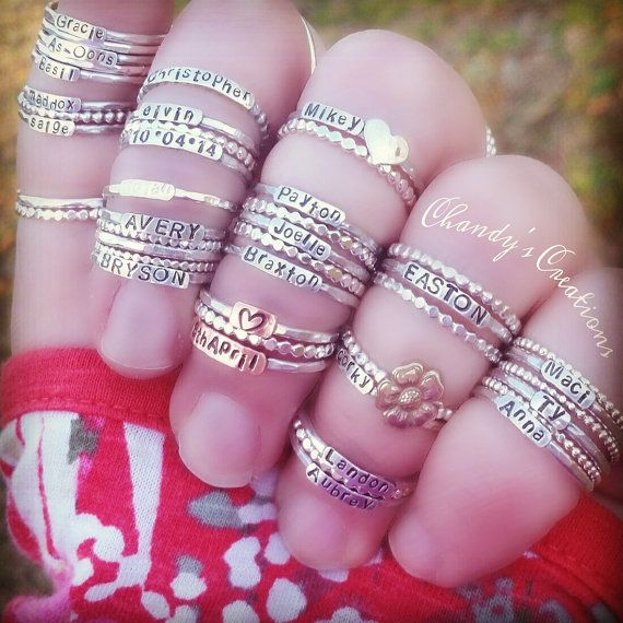 Custom mothers rings........Sterling Silver Stackable Name Rings Stackable by ChandysCreations