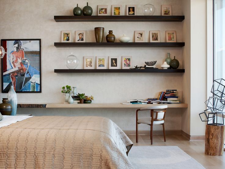 Use Long Floating Shelves To Rotate Art And Objects With