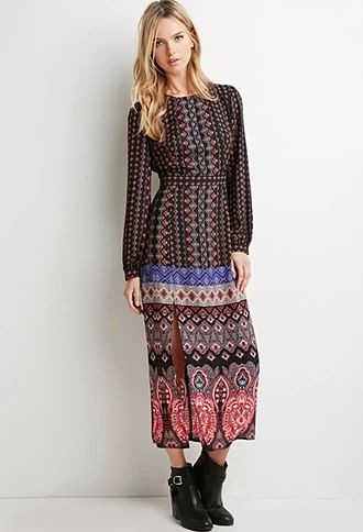 Print is huge for Fall, like in this Tile Print Maxi Dress from Forever 21.