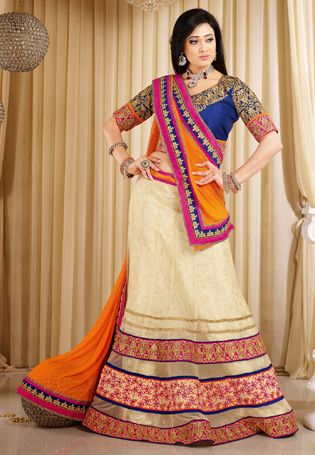 Cream Color Net Lehnga Choli