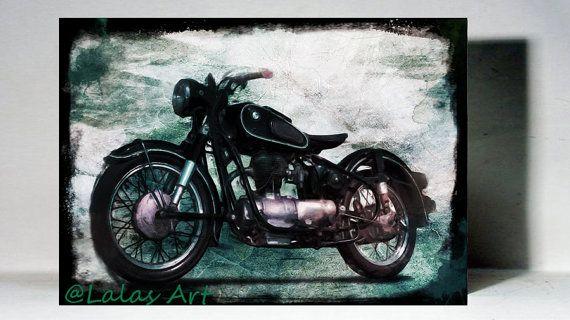 Vintage Classic Motorbike Bike Retro Style Art by LalasArtWorld
