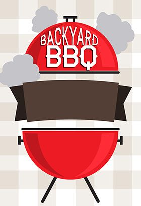 """""""Backyard BBQ"""" printable invitation. Customize, add text and photos. print for free!"""