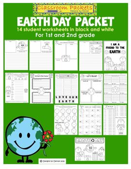 Earth day worksheet packet for 1st or 2nd grade includes 14 black and