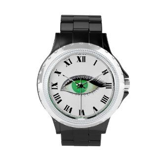 I watch and see green eye wrist watch