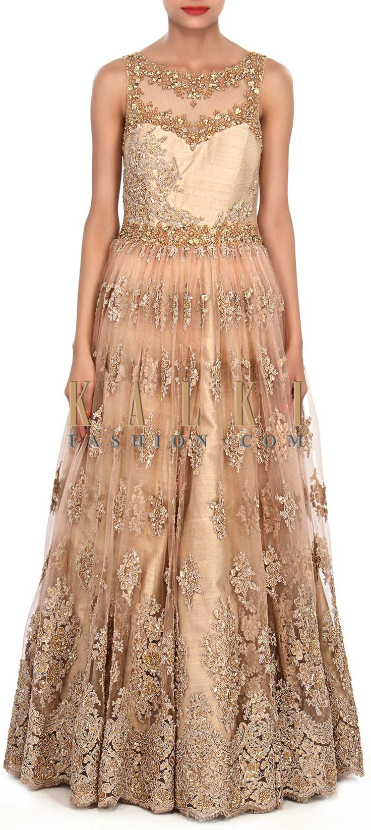 Buy Online from the link below. We ship worldwide (Free Shipping over US$100) Price-$1029 Click Anywhere to Tag http://www.kalkifashion.com/beige-gown-embellished-in-sequin-and-kardana-butti-only-on-kalki.html