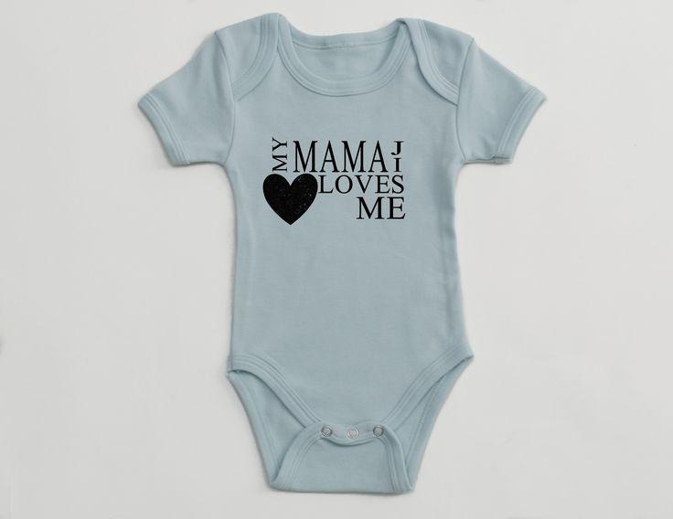 Light Blue – Short Sleeve – Infant Onepiece – My Mamaji Loves Me – Heart Design