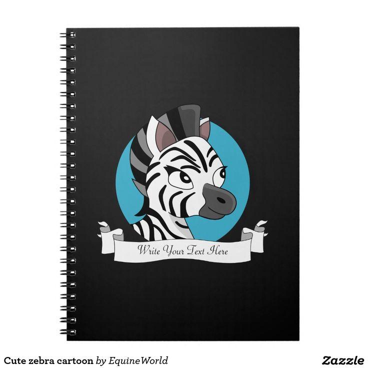 Cute zebra cartoon spiral notebooks