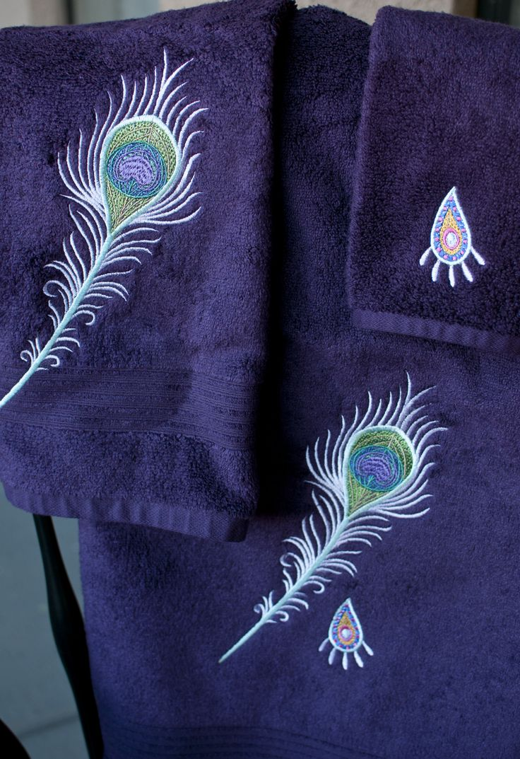 Peacock bathroom towels - Towel Set Peacock Feather