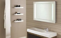 Trendy Beige Bathroom with Nice White Framed Mirror