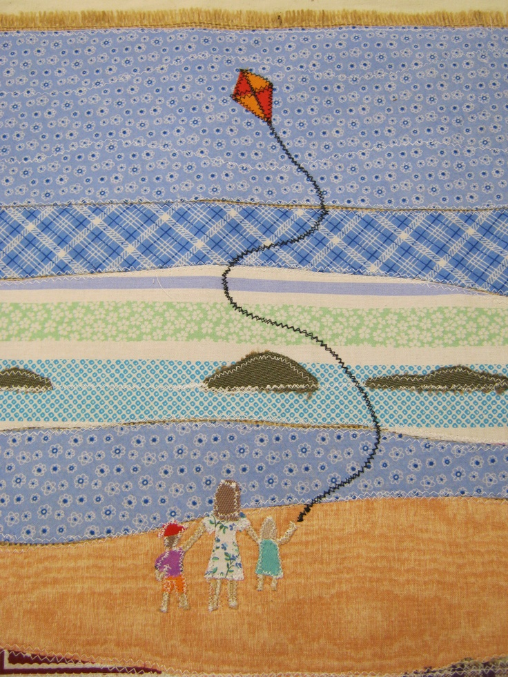 Detail of children flying a kite on Godrevy beach Cornwall..bed runner with matching cushion.