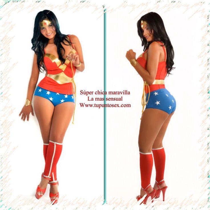 Disfraz de mujer maravilla, disfraces sensuales y sexis para mujeres. Www.tupuntosex.com Disfraces Halloween, disfraces eróticos femeninos.