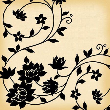 Flower and Vine Vintage Wallpaper: Tattoo Ideas, Cakes Ideas, 4 Flowers Tattoo, Inspiration Ideas, Vines And Floral Patterns, Black Vines Tattoo, Black Flowers, Inspiration Art, Floral Vines Tattoo