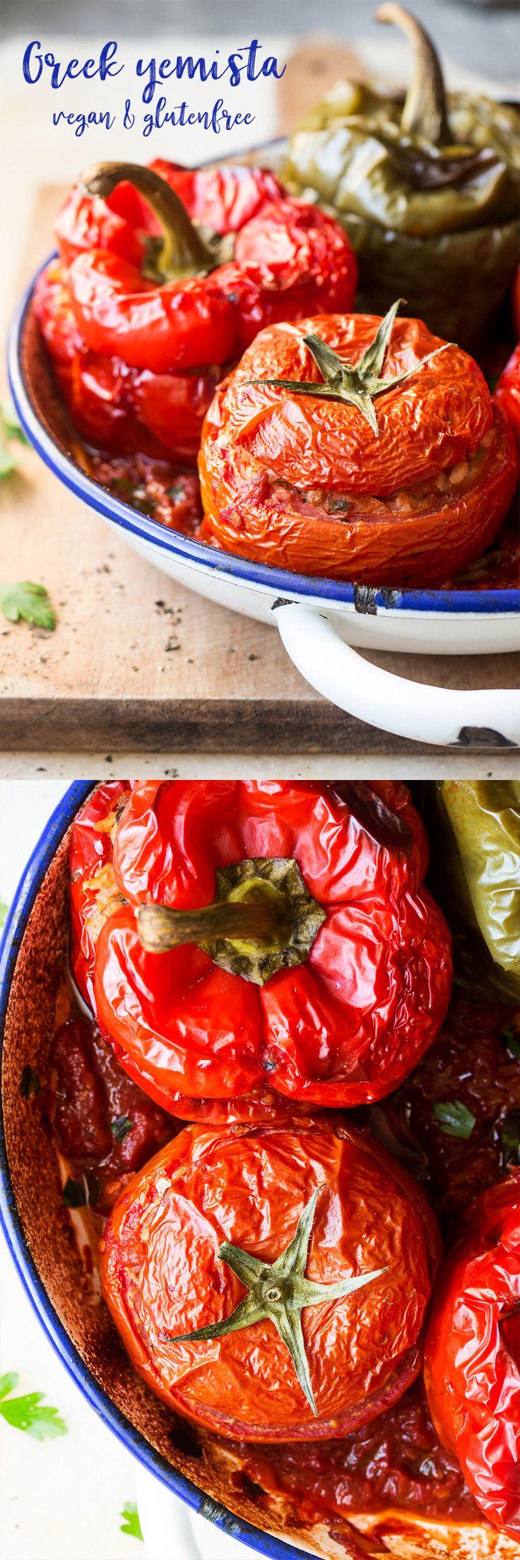 #greek #entree #side #lunch #dinner #gemista #yemista #stuffed #peppers #tomatoes #vegan #glutenfree #healthy