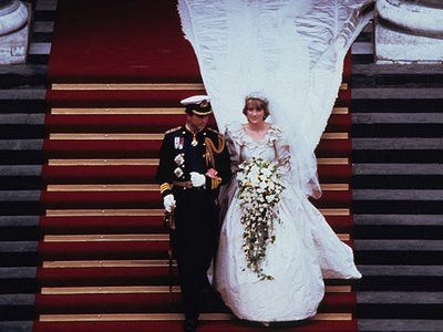 The dress, famously designed by husband and wife team David and Elizabeth Emanuel, was to all intents and purposes a giant meringue. The train was famously 25ft long. The dress itself was made of silk taffeta, lace and was hand embroidered with over 10,000 pearls. The shoulders of the dress were made so large in order to make Diana's waist look even smaller.